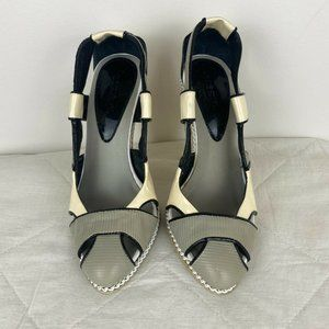 Diesel Womens Leather Strap Chain Heels Size 7 S4
